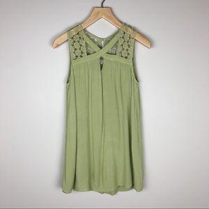Entro Tunic Boho Knit Bodice Top Size S